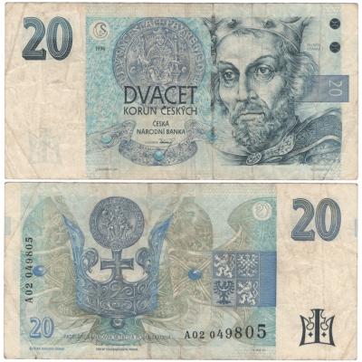 20 korun 1994, série A, proužek vpravo