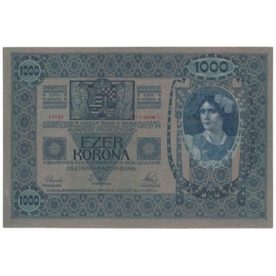 1000 korun 1902, bez přetisku, růžový podtisk aUNC