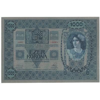 1000 korun 1902, bez přetisku, šedozelený podtisk UNC