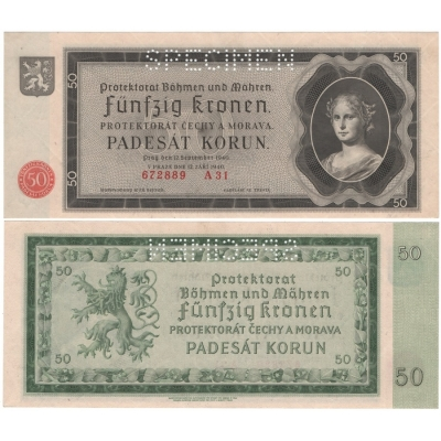 50 korun 1940, série A, UNC