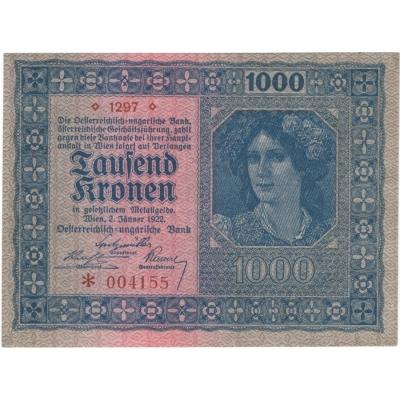 Rakousko - bankovka 1000 korun 1922 UNC