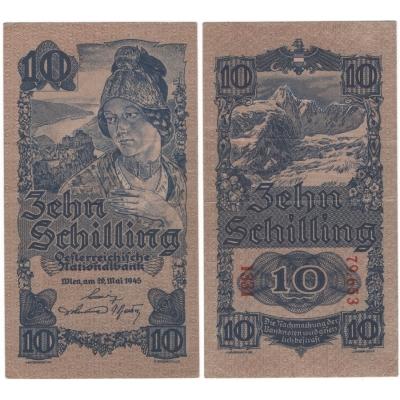 Rakousko - bankovka 10 schilling 1945