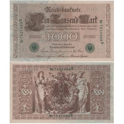 1000 marek 1910, zelené pečetě