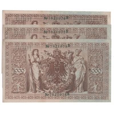 3x Německé císařství - bankovka Reichsbanknote 1000 marek 1910, zelené pečetě, po sobě jdoucí