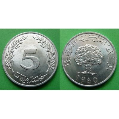 Tunisko - 5 Millim 1960