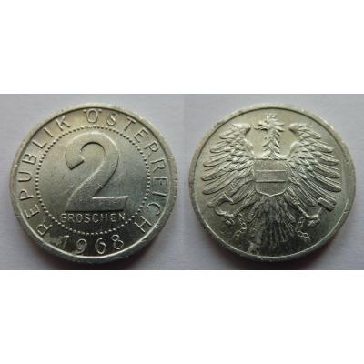 Rakousko - 2 groschen 1968