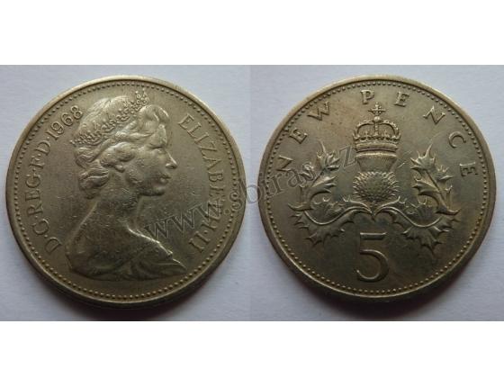 Velká Británie - 5 pencí 1968
