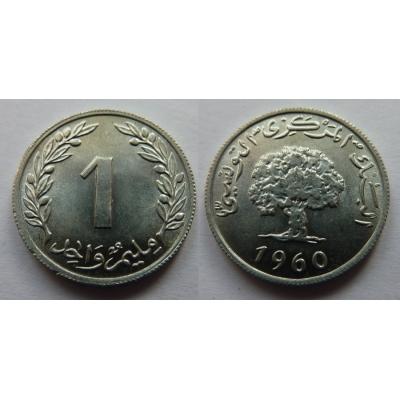 Tunisko - 1 Millim 1960