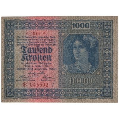 Rakousko - bankovka 1000 korun 1922 aUNC