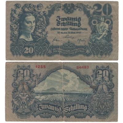 Rakousko - bankovka 20 schilling 1945