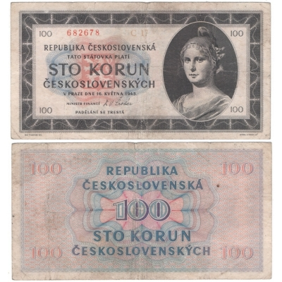 100 korun 1945, neperforovaná, série C