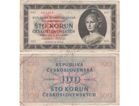 Czechoslovakia - 100 crowns banknote 1945