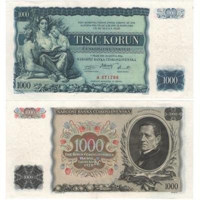 1000 korun 1934, série A, neperforovaná
