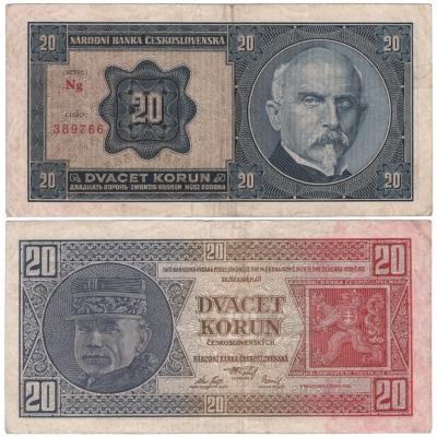 20 korun 1926 neperforovaná, série Ng