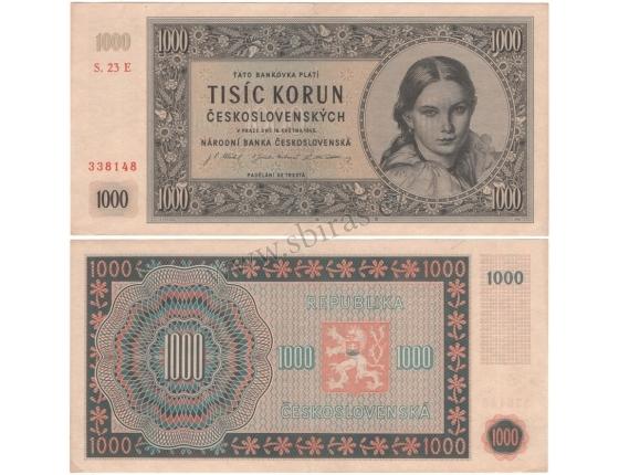 1000 Kčs 1945, série E, neperforovaná