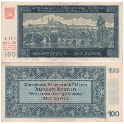 100 korun 1940, neperforovaná, I. vydání, série B