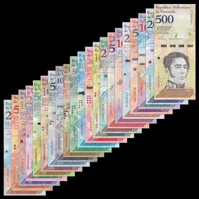 Venezuela - sada 21 bankovek 2 - 100,000 Bolivares, 2-500 Soberanos 2007-2019 UNC