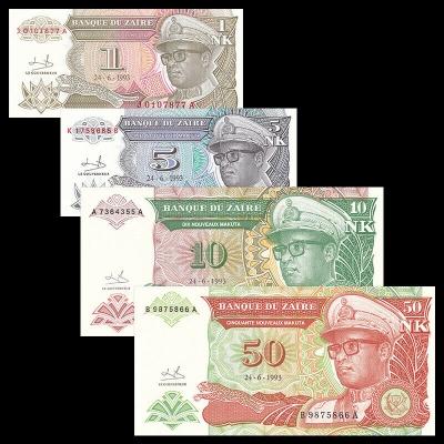 Zaire - sada 4 bankovek 1, 5, 10, 50 Zaire UNC