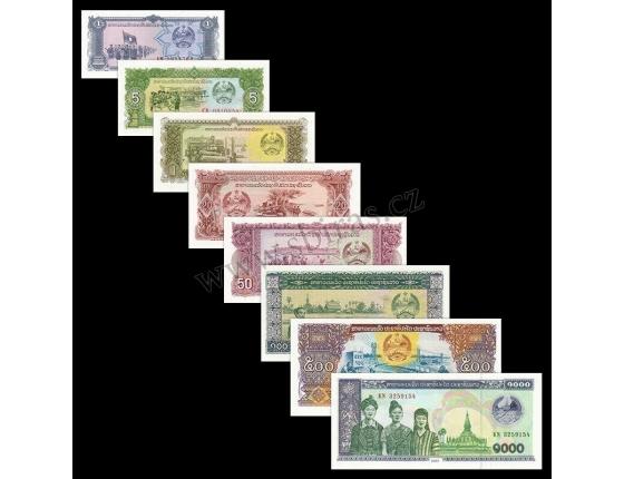Laos - sada 8 bankovek 1, 5, 10, 20, 50, 100, 500, 1000 Kip UNC