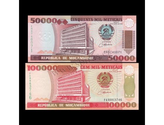 Mosambik - sada 2 bankovek 50000 a 100000 Meticais 1993 UNC