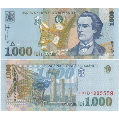 Rumunsko - bankovka 1000 Lei 1998 UNC, polymerová bankovka