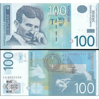 Srbsko - bankovka 100 dinara 2012 UNC, Nikola Tesla