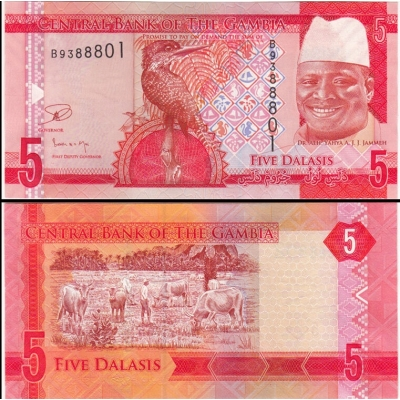 Gambie - bankovka 5 dalasis 2015 UNC