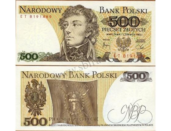 Polsko - bankovka 500 zlotych 1982 UNC