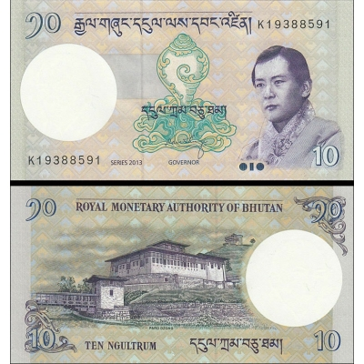 Bhútán - bankovka 10 Ngultrum, 2013 UNC