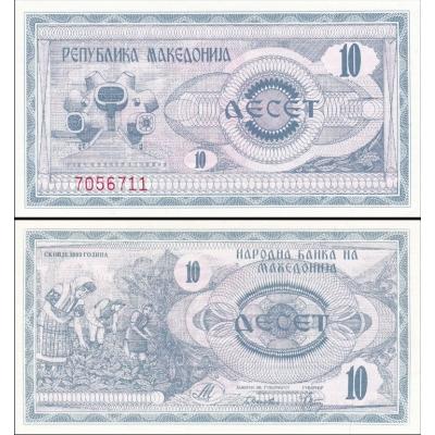 Makedonie - bankovka 10 denárů 1992 UNC