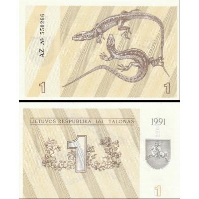 Litva - bankovka 1 Talonas 1991 UNC