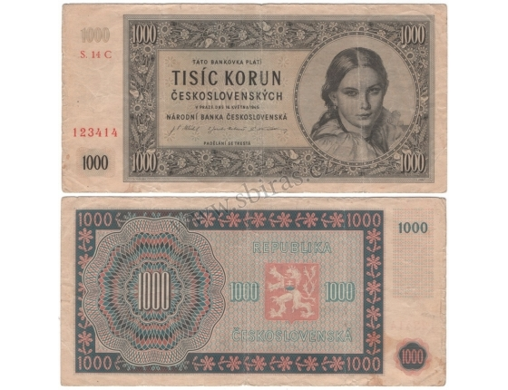 1000 Kčs 1945, série C, neperforovaná