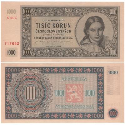 1000 Kčs 1945, aUNC, série C