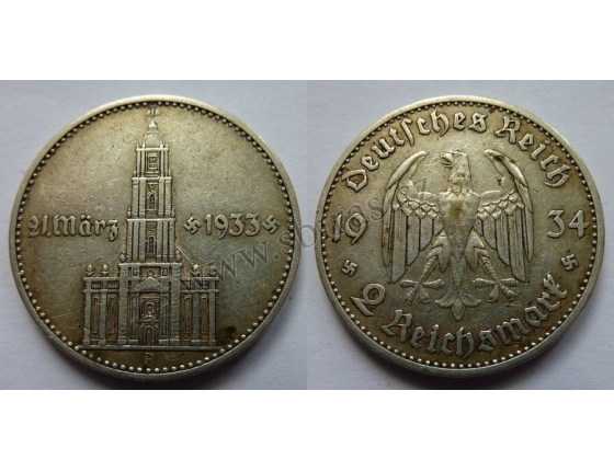 Nacistické Německo - 2 marky 1934 A, kostel