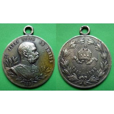 50 let vlády Františka Josefa I. - litá stříbrná medaile 1898, puncováno