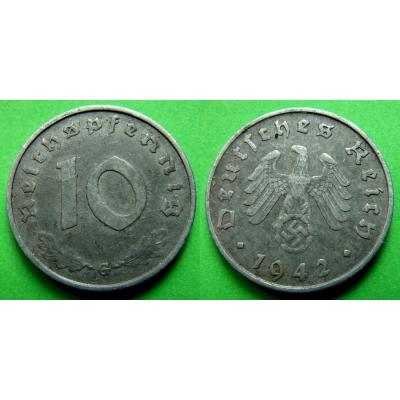 Nacistické Německo - 10 pfennig 1942 G