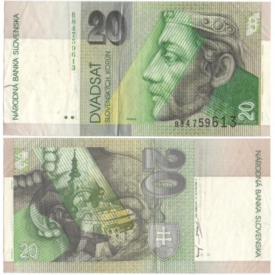 Slovensko - bankovka 20 korun 1997, série B