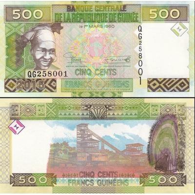 Guinea - bankovka 500 francs 2015 UNC