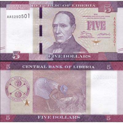 Libérie - bankovka 5 dollars 2016 UNC