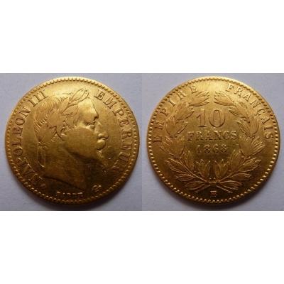 Francie - 10 franků 1868 B
