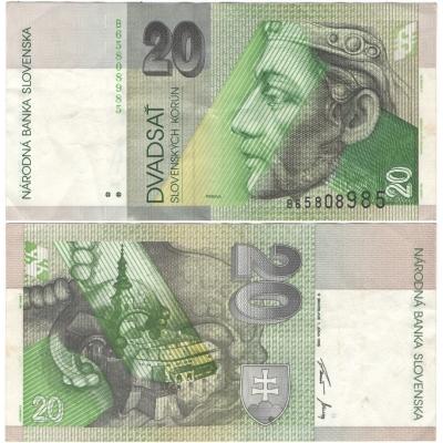 Slovensko - bankovka 20 korun 1995, série B