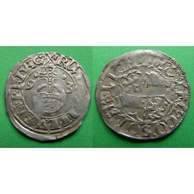 RUDOLF II. - stříbrná mince 2 krejcary 1593 Solms