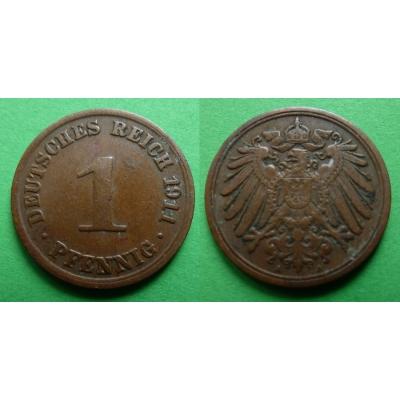 Německé císařství - 1 pfennig 1911, Vilém II Pruský