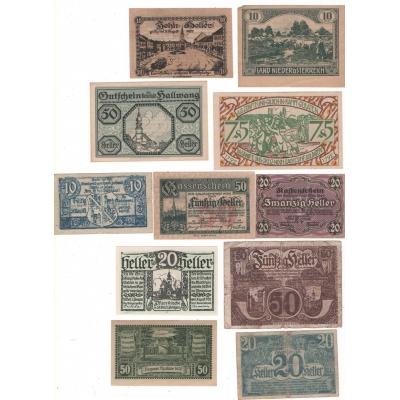Konvolut nouzových bankovek Rakouska - 11 ks