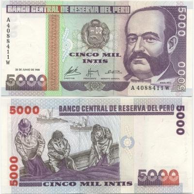 Peru - bankovka 5000 intis 1988. série A, UNC