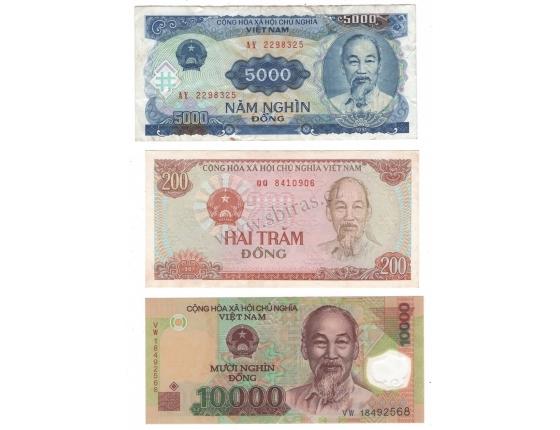 Vietnam - sada 3 bankovek