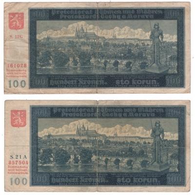 2x bankovka 100 korun 1940, neperforované, I. a II. vydání
