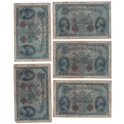 Německé císařství - bankovka 5 marek 1914