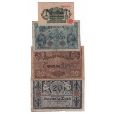 Německé císařství, 1 . světová valka - konvolut 4 bankovek