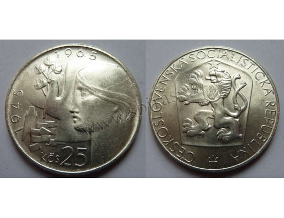 Czechoslovakia - coins 25 Crown, 1965, the 20th anniversary of the liberation of Czechoslovakia